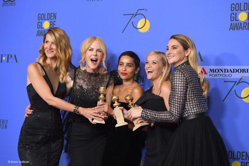 "Golden Globes: Il cast di ""Big Little Lies"": Laura Dern, Nicole Kidman, Zoe Kravitz, Reese Whiterspoon e Shailene Woodley alla 75esima edizione dei Golden Globes"