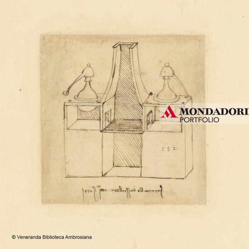 Leonardo da Vinci (1452-1519), Codice Atlantico (Codex Atlanticus), foglio 912 recto. Apparecchio per la distillazione dell'acquaforte.